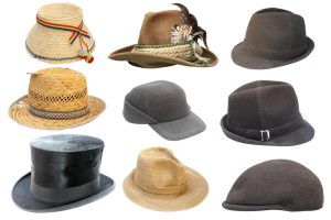 collection of traditional old hats isolated over white background ready for your design